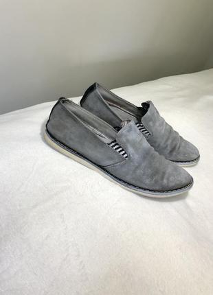 Замшевые туфли серые мужские туфлі мокасини 413 фото
