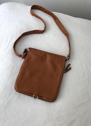 Мужская классическая сумка рыжая через плече рижа