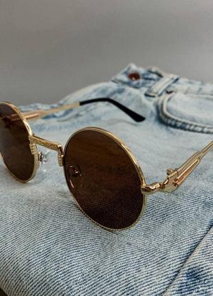 Круглые очки в золотой оправе тишейды | круглі окуляри в золотій оправі