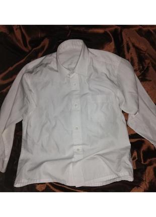 Рубашка бела с длинным рукавом.
