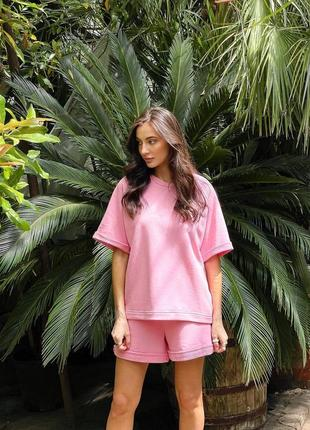 Летний весенний женский костюм футболка оверсайз и шорты