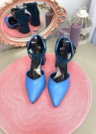 В наличии шикарные синие туфли из натуральной итальянской  кожи 37 р🔥