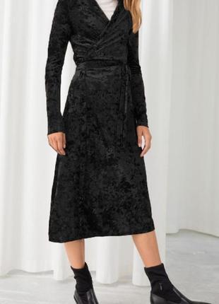Роскошное бархатное велюровое платье на запах 32 xxs & other stories