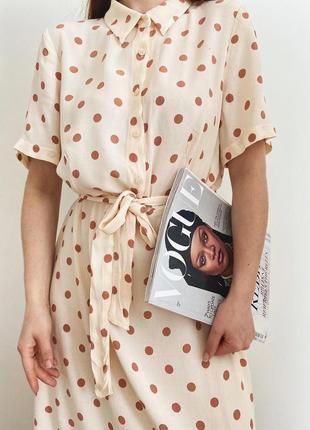 Очень красивое платье в горошек платье миди платье на лето