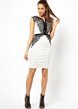 Paper dolls платье белое чёрное с поясом из эко кожи кружево гипюр по фигуре миди
