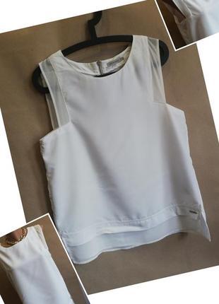 Белый топ calvin klein. белая блуза. майка