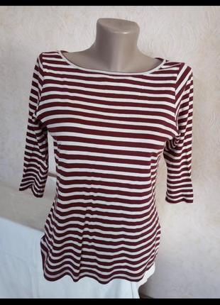 Кофта женская короткий рукав в полоску красная белая