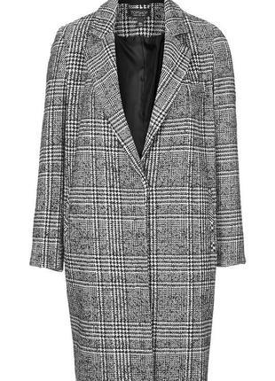 Шерстяное пальто в клетку бойфренд oversize top shop