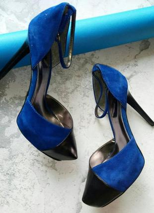 Туфли черно-синие замша и кожа шпилька бренд carlos santana р.37,5