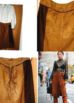 Хит сезона . замшевая юбка рыжая с заклепками и лентами бохо