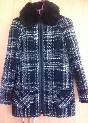 Пальто с искусственным мехом (мех снимается)
