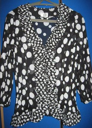 Нарядная блуза в горох ,с рюшами,размер 14