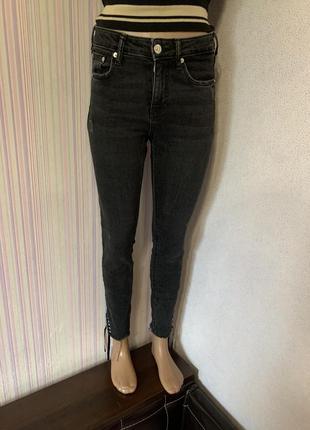 Zara premium denim черно-серые джинсы