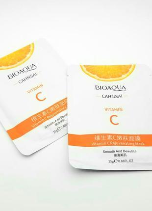Тканевая маска для лица с витамином с от bioaqua vitamin c rejuvenating mask