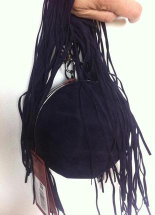Мини сумочка боченок с бахромой