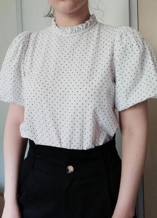 Нарядная блуза топ блузка с объемными рукавами фонариками в горошек