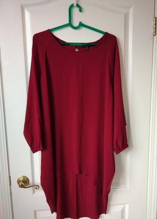 Бордовое платье оверсайз