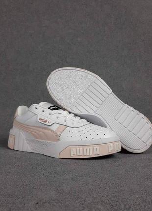 Женские кроссовки puma cali (белые с пудровым)