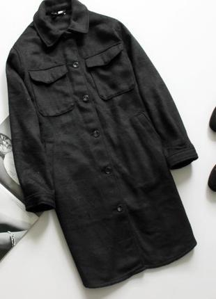 Крутая рубашка пальто с накладными карманами теплая с 8