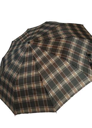 Зонт-полуавтомат в клетку sl, коричневый