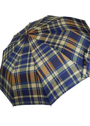 Зонт-полуавтомат в клетку sl, сине-коричневый