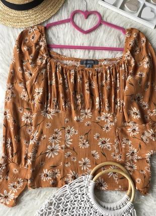 Трендовая блуза из вискозы с объёмными рукавами в цветочный принт 🧡🧡