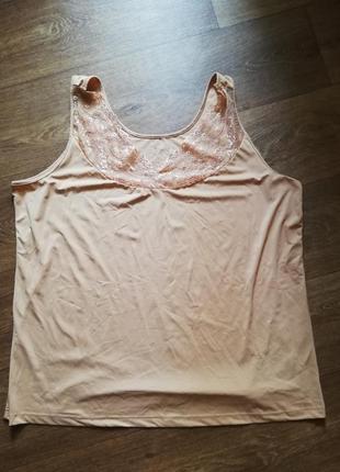 Майка бельевая женская бежевая ночнушка комбинация для сна эластан 3хл большой размер
