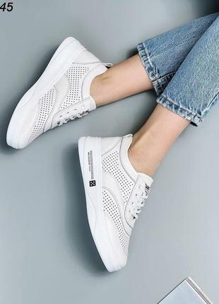 Рр 36-41. белые кроссовки кеды с перфорацией из натуральной кожи