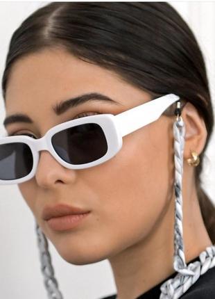 Тренд белые очки солнцезащитные узкие прямоугольные ретро 60-е окуляри сонцезахисні білі