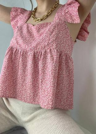 Розовый белый топ топик  розовая белая блуза блузка рожева біла shein