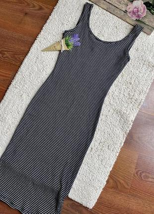 Полосатое платье -майка в рубчик