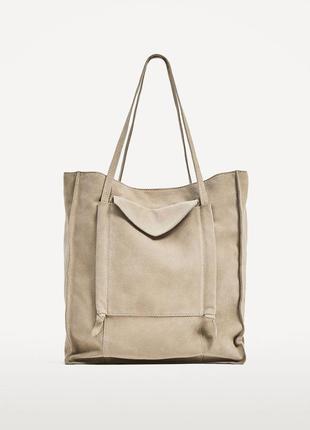 Замшевая сумка шоппер zara