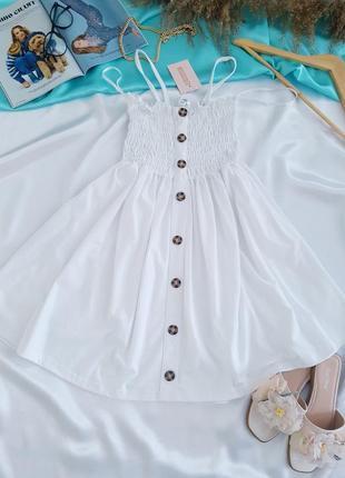 Белоснежное котоновое платье/сарафан  missguided.