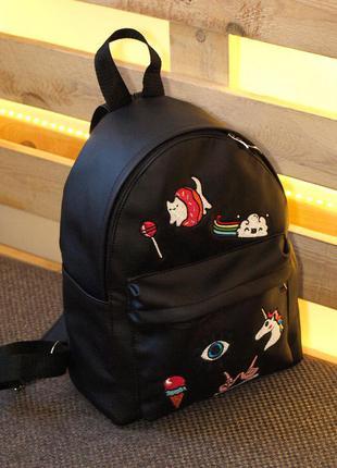 Яркий вместительный рюкзак с милыми нашивками, единорог и котик(07)