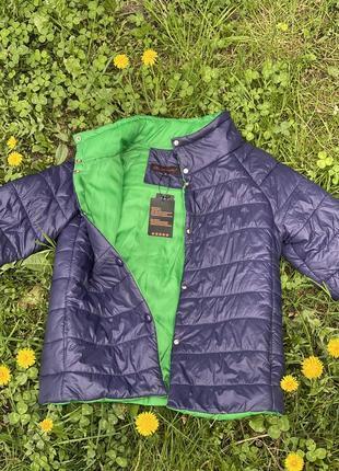 Двустороння курточка сине-зеленая на кнопках, короткий рукав
