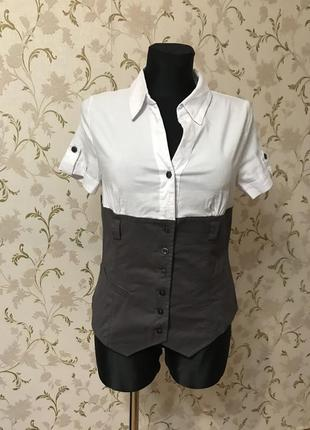 Классная комбинированная рубашечка блуза коттон