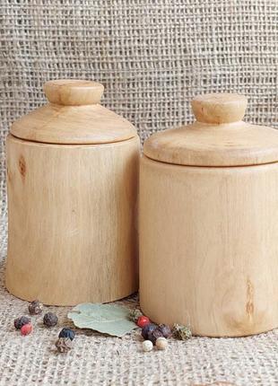 Набор из двух деревянных баночек