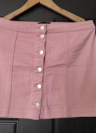 Юбка джинсовая розовая на пуговицах