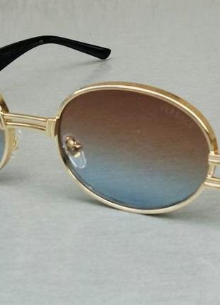 Versace очки унисекс солнцезащитные бежево синий градиент в золоте овальные