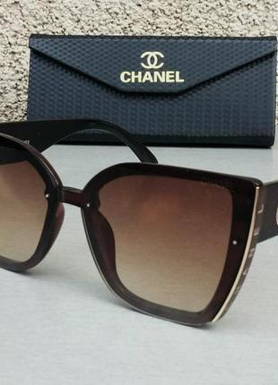 Chanel очки женские солнцезащитные большие модные коричневые с градиентом