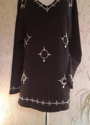 Хлопковый черный свитер в золотые бусины,х l- 3х l