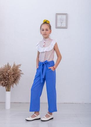 Льняные брюки для девочки, летние брюки для девочки