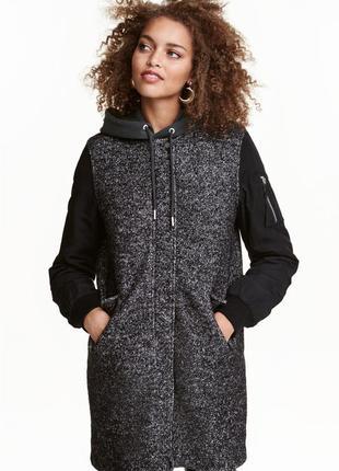 Бомбер куртка пальто из смесовой шерсти от h&m