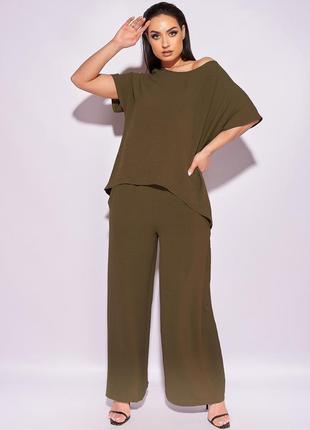 Костюм с широкими брюками, летний, легкий, свободный, от 50 до 64 размера