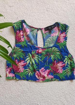 Топ кроп топ с квадратным вырезом  лето пляж пальмы цветы