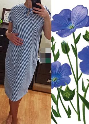Льняное миди платье в полоску
