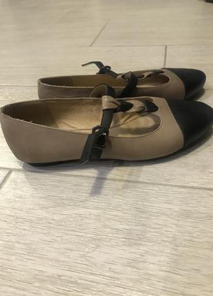 Балетки, туфли бежевые, кожа 23,5 см