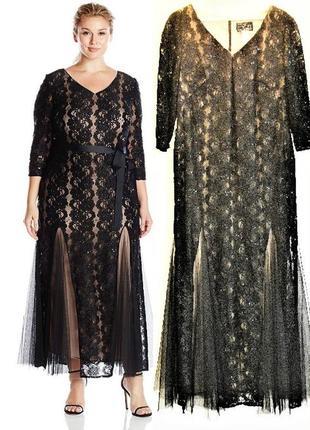 """Вечернее роскошное платье """"рыбка"""" на телесной подкладке с декором plus size 14w"""