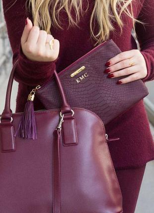 Вместительная сумка мешок китици замш марсал бордо m&co