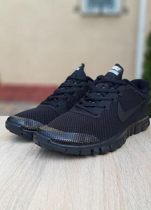 Nike free run 3.0 черные со шнурками